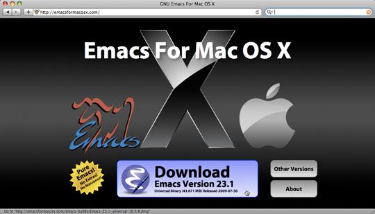 Скриншот сайта EMACS for OS X