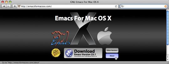 Тот же сайт EMACS for OS X при другом размере окна браузера