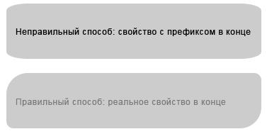 Правильный и неправильный способ расположения свойства CSS3