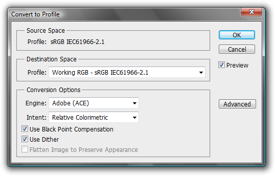 "The ""Convert to Profile"" dialog converts raw color data to fit the gamut of the Destination Space."